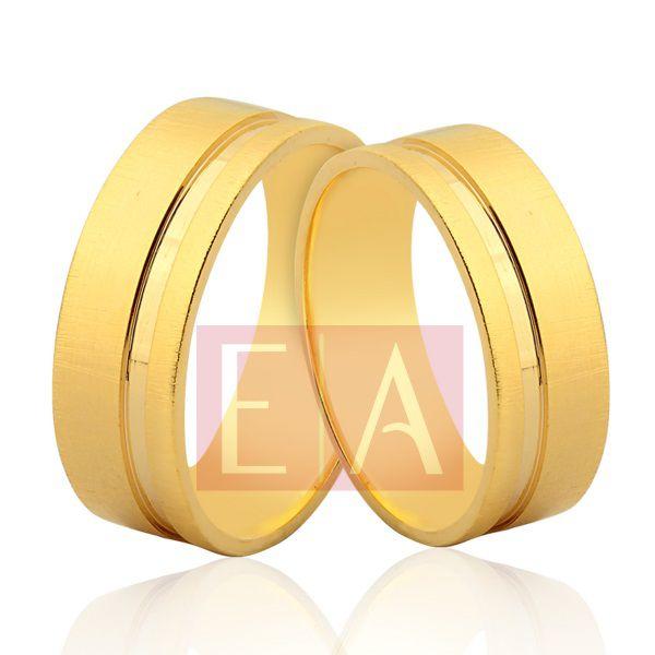 Alianças Ouro Noivado Casamento 18k Quadrada Fosca Reta 7mm 12 Gramas