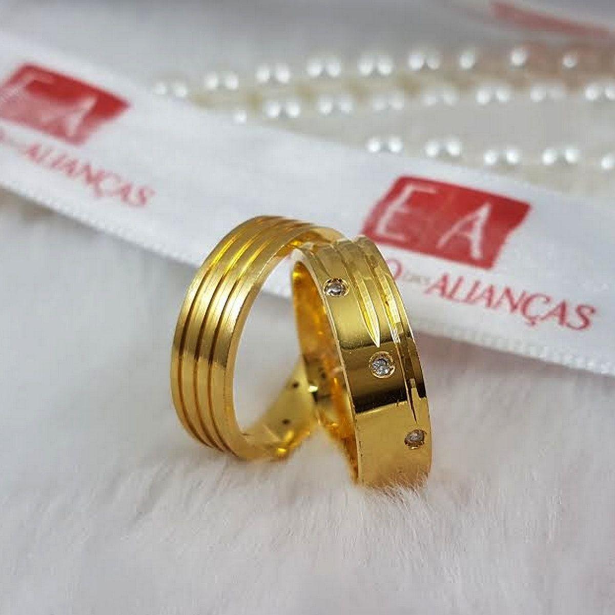 Alianças Ouro Noivado Casamento 18k Quadrada Lisa Trabalhada Pedra Zircônia 7mm 18 Gramas o Par