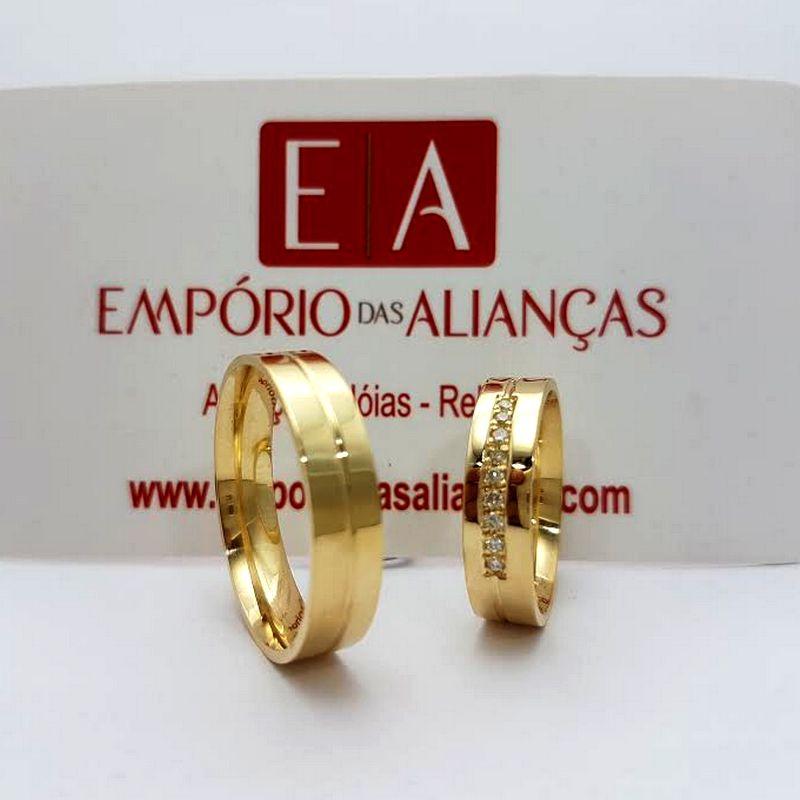 Alianças Ouro Noivado Casamento 18k Quadrada Zircônia Cravejada Anatômica 5mm 12 Gramas
