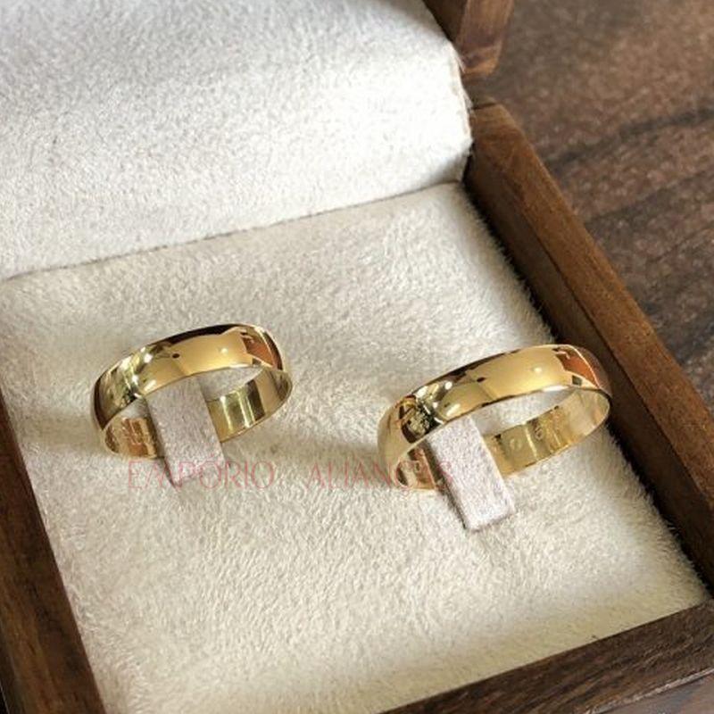 Alianças de Casamento de Ouro Lisa