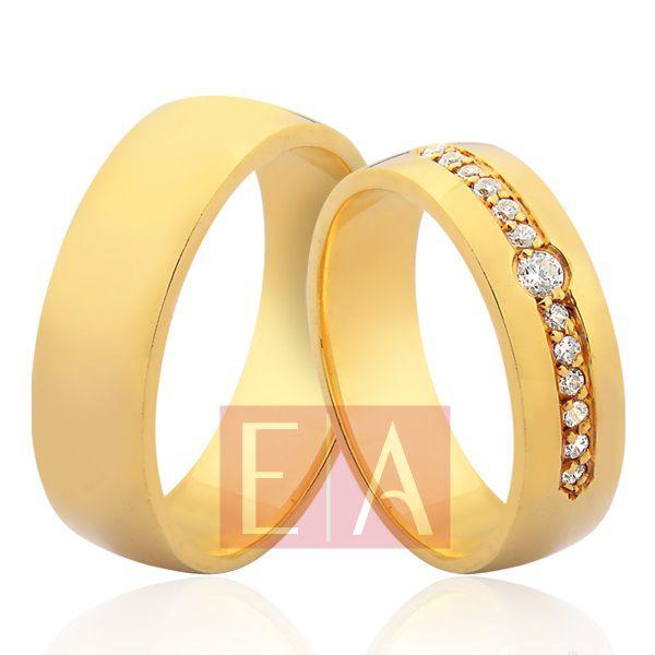 Alianças Ouro Noivado Casamento 18k Redonda Brilhante 6mm 18 Gramas Anatômica