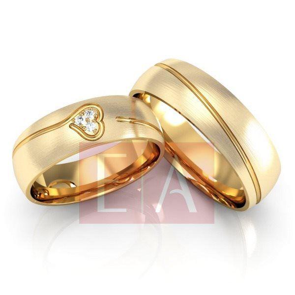 Alianças Ouro Noivado Casamento 18k Redonda Coração Brilhante Fosca Anatômica 6mm 14 Gramas