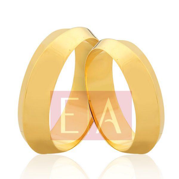 Alianças Ouro Noivado Casamento 18k Redonda Lisa 6mm 9 Gramas Reta Tradicional