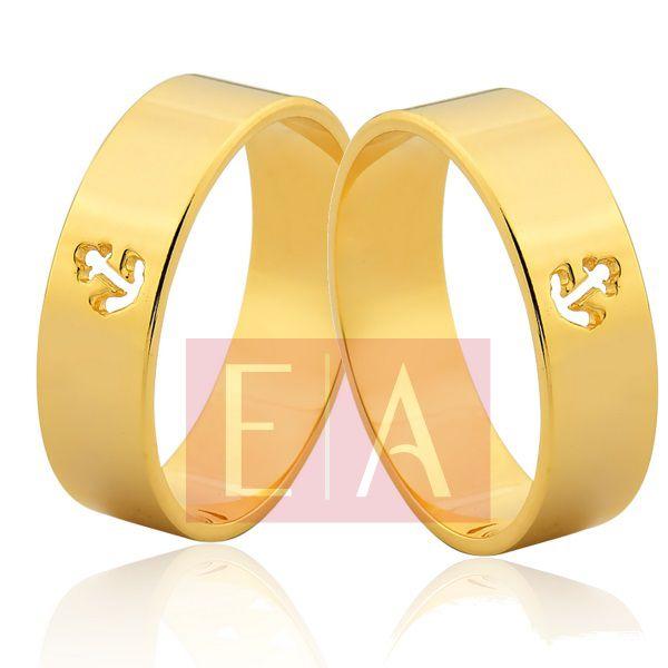 Alianças Ouro Noivado Casamento Quadrada Ancora Vazado 6mm 9 Gramas Reta