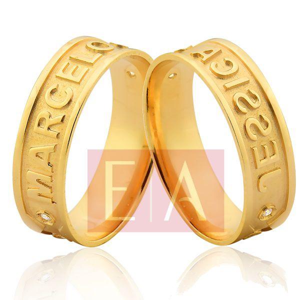 Alianças Ouro Noivado Casamento Quadrada Nome Personalizado Externo Brilhante 6mm 8 Gramas