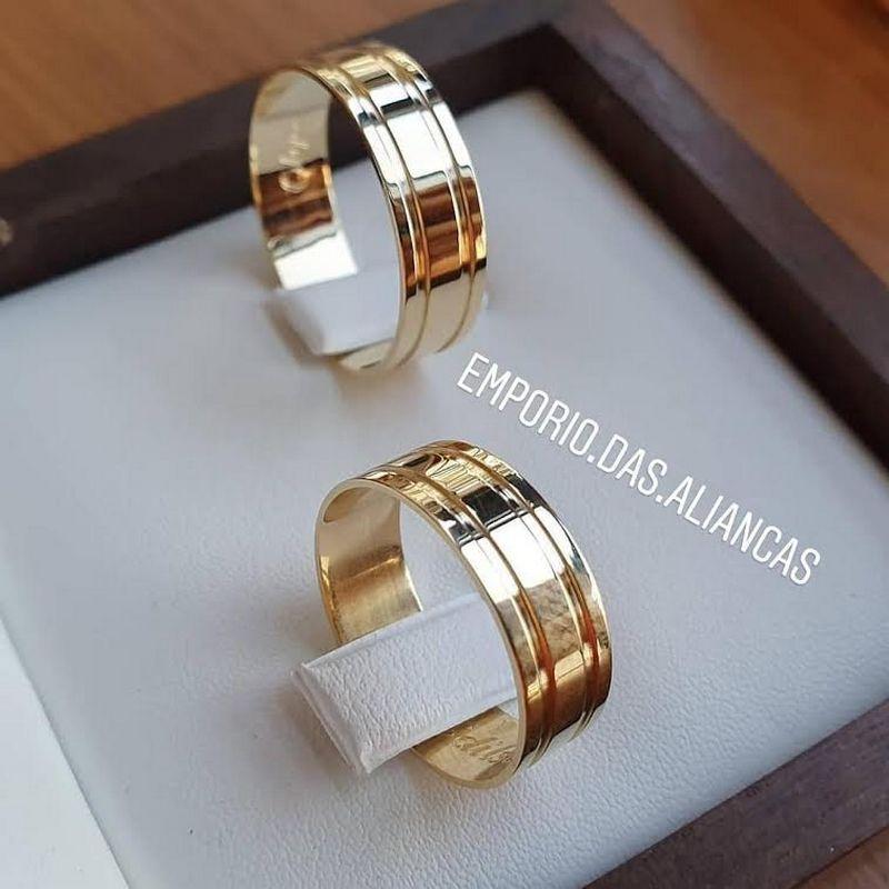 Alianças Ouro Noivado Casamento Quadrado Friso Reta 7mm 10 Gramas o Par
