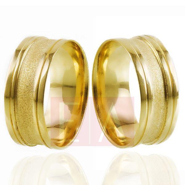 Alianças Ouro Noivado Casamento Trabalhada Côncova 8mm 8gr Anatômica