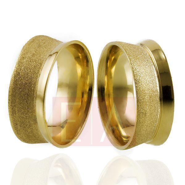 Alianças Ouro Noivado Casamento Trabalhada Côncova Fosca 8mm 10gr Anatômica