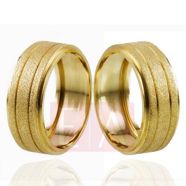 Alianças Ouro Noivado Casamento Trabalhada Quadrada Fosca 8mm 10gr Oca o Par