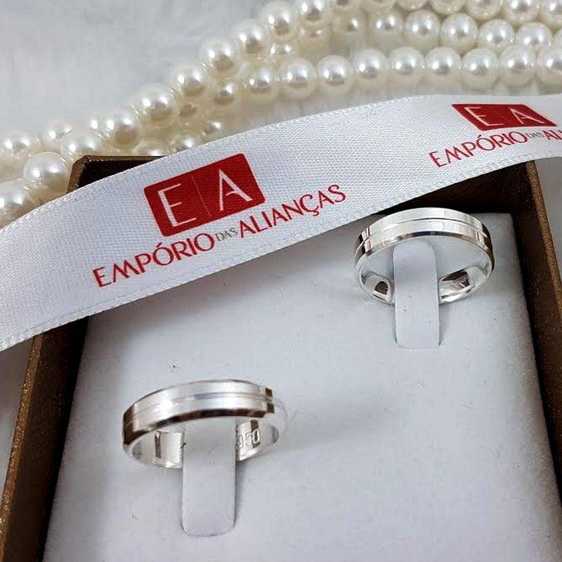Alianças Prata 950 Compromisso Namoro Quadrada Friso 5mm 8 Gramas o Par