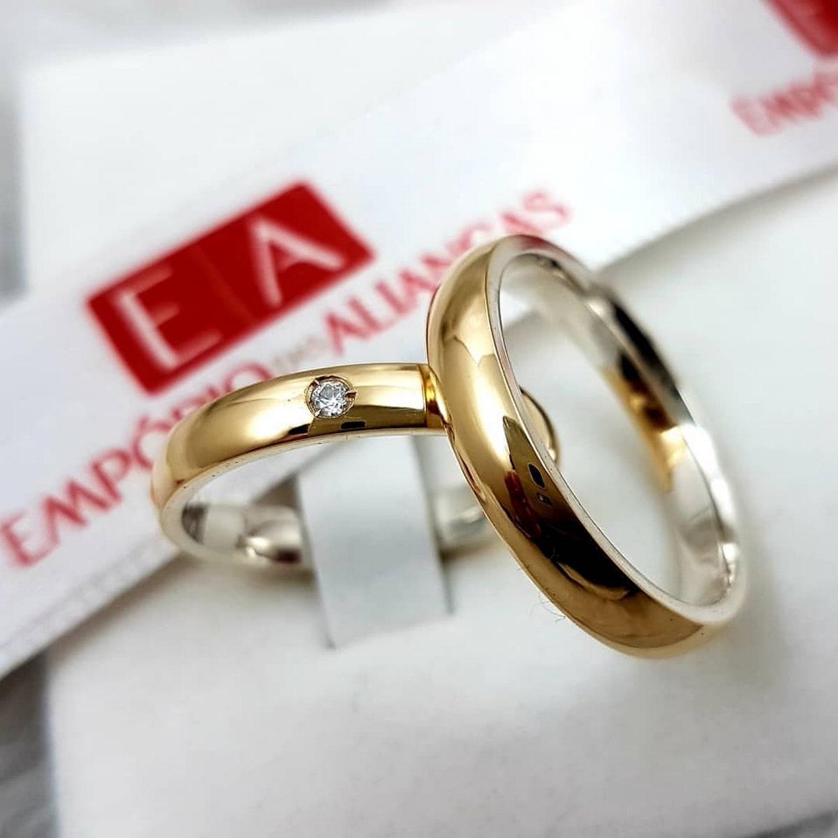 Alianças Prata com Ouro com Pedra