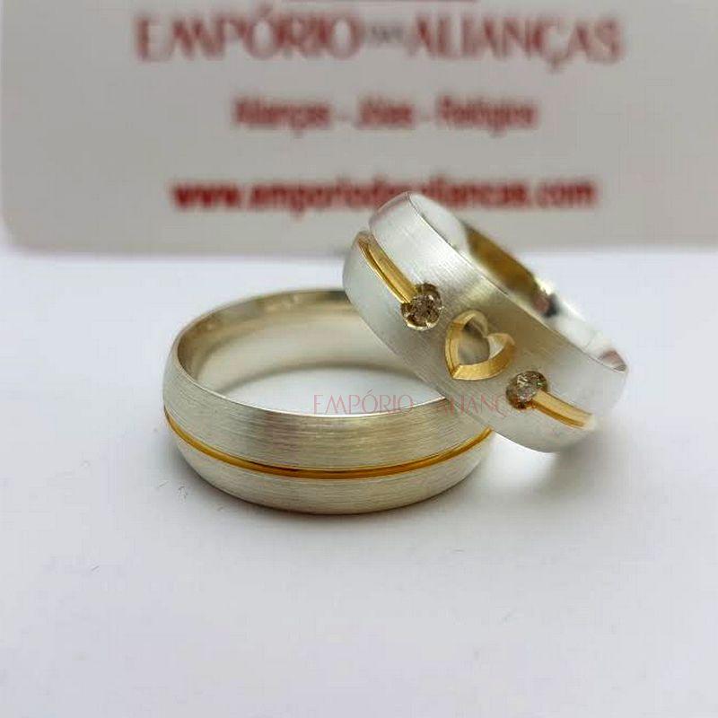 Alianças Prata Compromisso Namoro Banho Ouro Coração Vazado Pedra Zircônia 7mm 10 Gramas