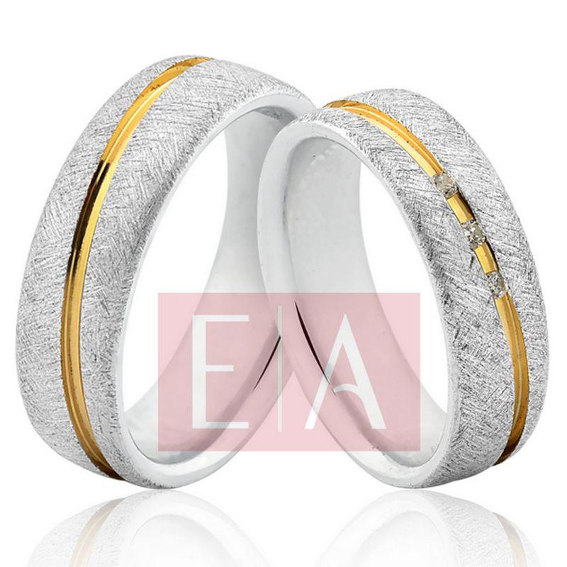 Alianças Prata Compromisso Namoro Banho Ouro Fosca Pedra Zircônia 6mm 12 Gramas