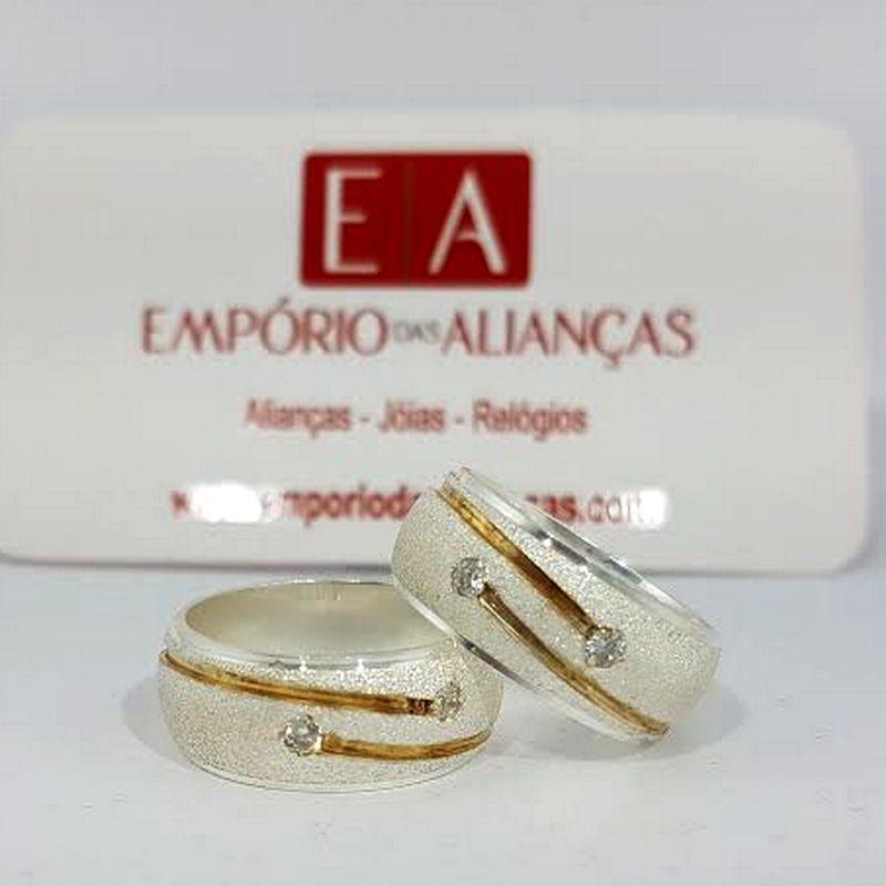 Alianças Prata Compromisso Namoro Banho Ouro Pedra Zircônia Anatômica 9mm 18 Gramas