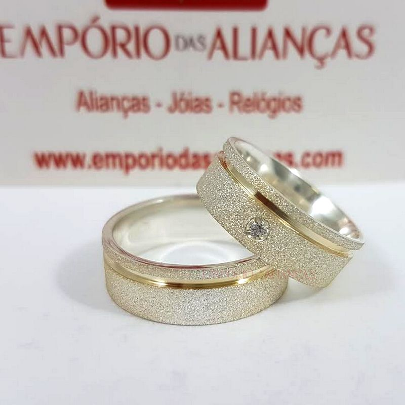 Alianças Prata Compromisso Namoro Banho Ouro Quadrada Fosca Pedra Zircônia Anatômica 6mm 10 Gramas