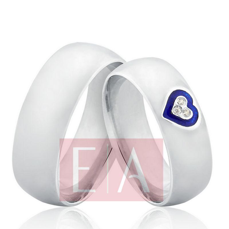 Alianças Prata Compromisso Namoro Coração Esmaltado Abaulada Anatômica Pedra Zircônia 7mm 10 Gramas