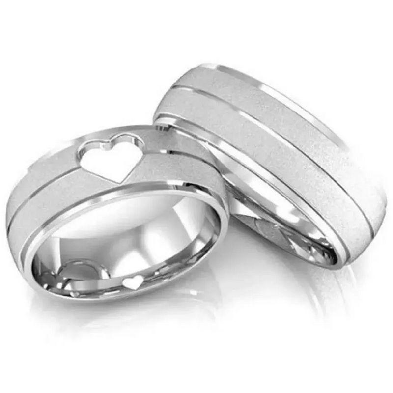 Alianças Prata Compromisso Namoro Coração Vazado Fosca Anatômica 6mm 10 Gramas