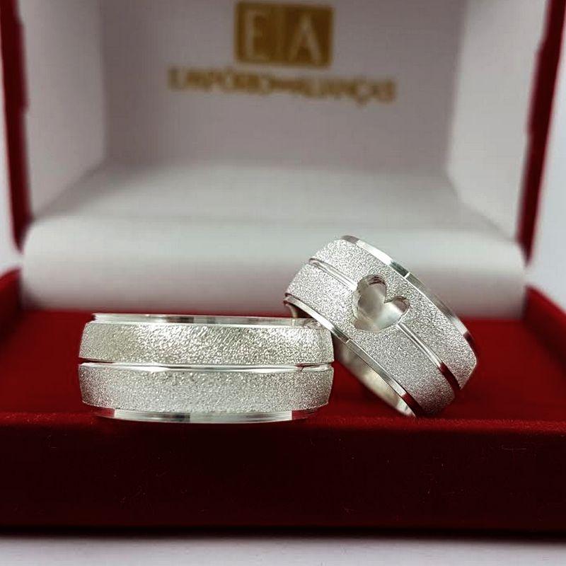 Alianças Prata Compromisso Namoro Coração Vazado Fosca Anatômica 9mm 18 Gramas o Par