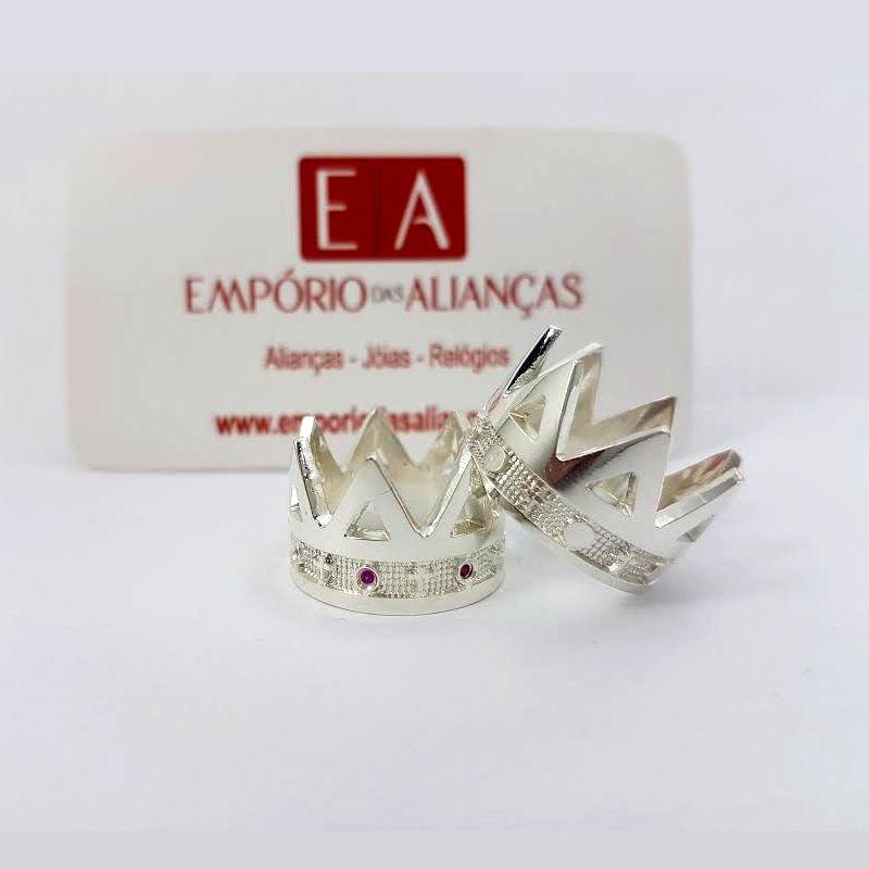 Alianças Prata Compromisso Namoro Coroa Grossa Pedra Zircônia 12mm 16 Gramas