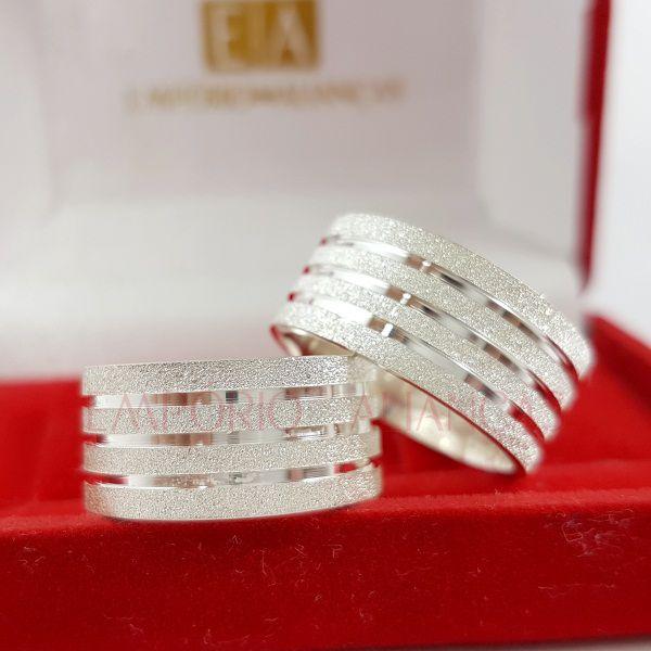 Alianças Prata Compromisso Namoro Quadrada Anatômica Fosca Diamantada Vazado 10mm 17 gramas