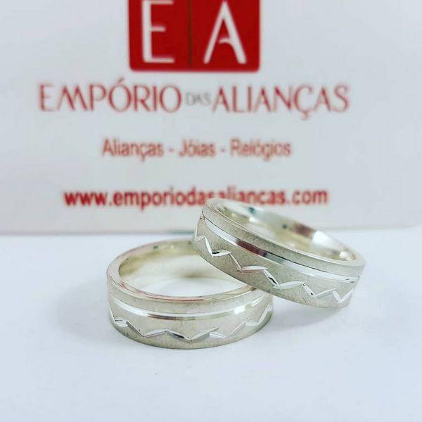 Alianças Prata Compromisso Namoro Quadrada Anatômica Fosca Escovada 6mm 13 gramas Trabalhada
