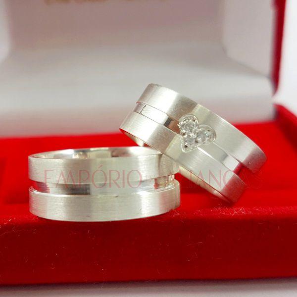 Alianças Prata Compromisso Namoro Quadrada Anatômica Fosco Acetinado Coração Zircônia 8mm 14 gramas Trabalhada