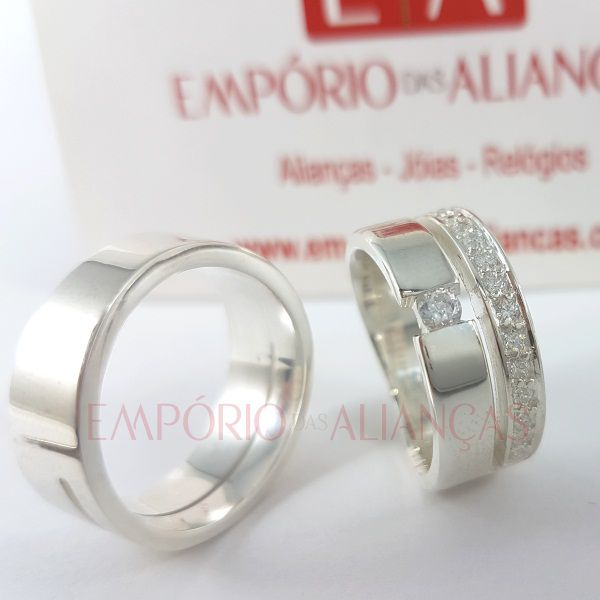 Alianças Prata Compromisso Namoro Quadrada Anatômica Lisa Polida Zircôrnia 8mm 16 gramas