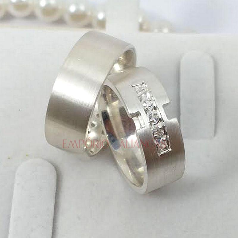 Alianças Prata Compromisso Namoro Quadrada Anatômica Pedra Zircônia 7mm 13 Gramas o Par