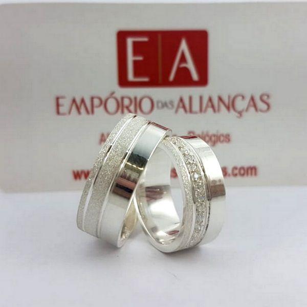 Alianças Prata Compromisso Namoro Quadrada Anatômica Zircônia Fosca Diamantada Lisa Polida 8mm 16 gramas Trabalhada