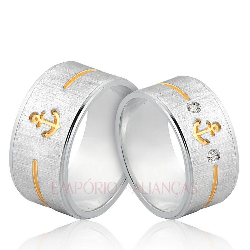 Alianças Prata Compromisso Namoro Quadrada Âncora Anatômica Grossa Pedra Zircônia 10mm 18 Gramas