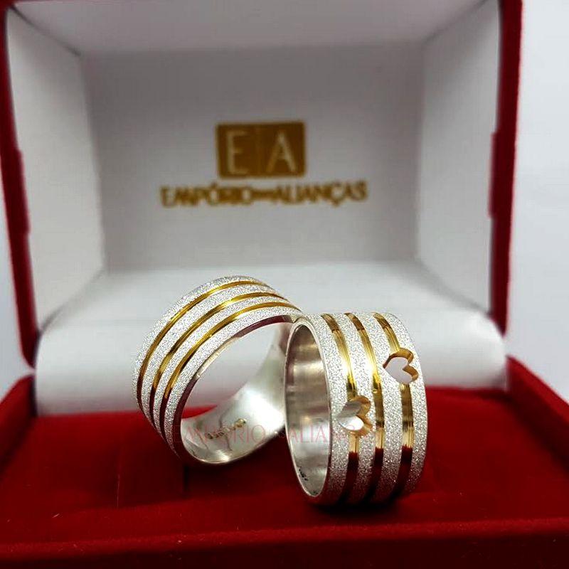 Alianças Prata Compromisso Namoro Quadrada Banho Ouro Coração Vazado Anatômica 10mm 17 Gramas
