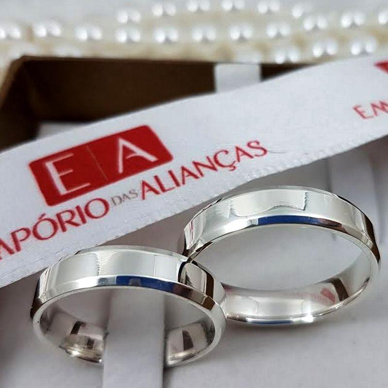 Alianças Prata Compromisso Namoro Quadrada Chanfrada 5mm 10 gramas Anatômica