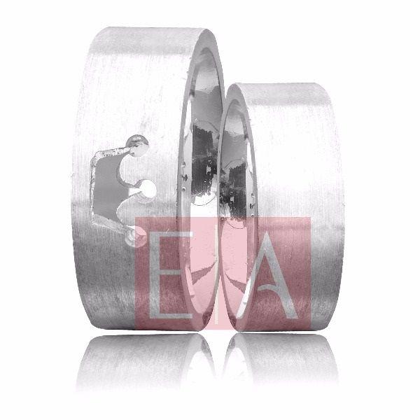 Alianças Prata Compromisso Namoro Quadrada Coroa Vazada Acetinada 8mm 16 gramas Anatômica