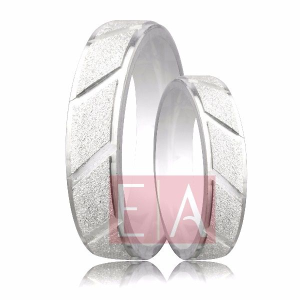 Alianças Prata Compromisso Namoro Quadrada Diamantada Reta 5mm 10 gramas Trabalhada