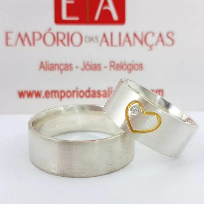 Alianças Prata Compromisso Namoro Quadrada Fosca Coração Banho Ouro Anatômica 8mm 16 Gramas