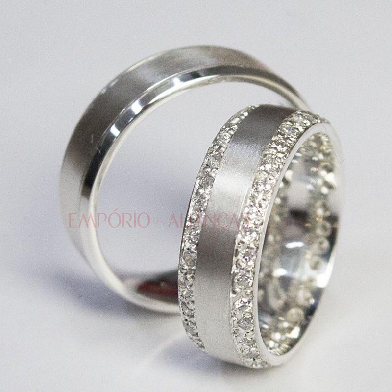 Alianças Prata Compromisso Namoro Quadrada Fosca Cravejada Pedra Zircônia 7mm 16 Gramas