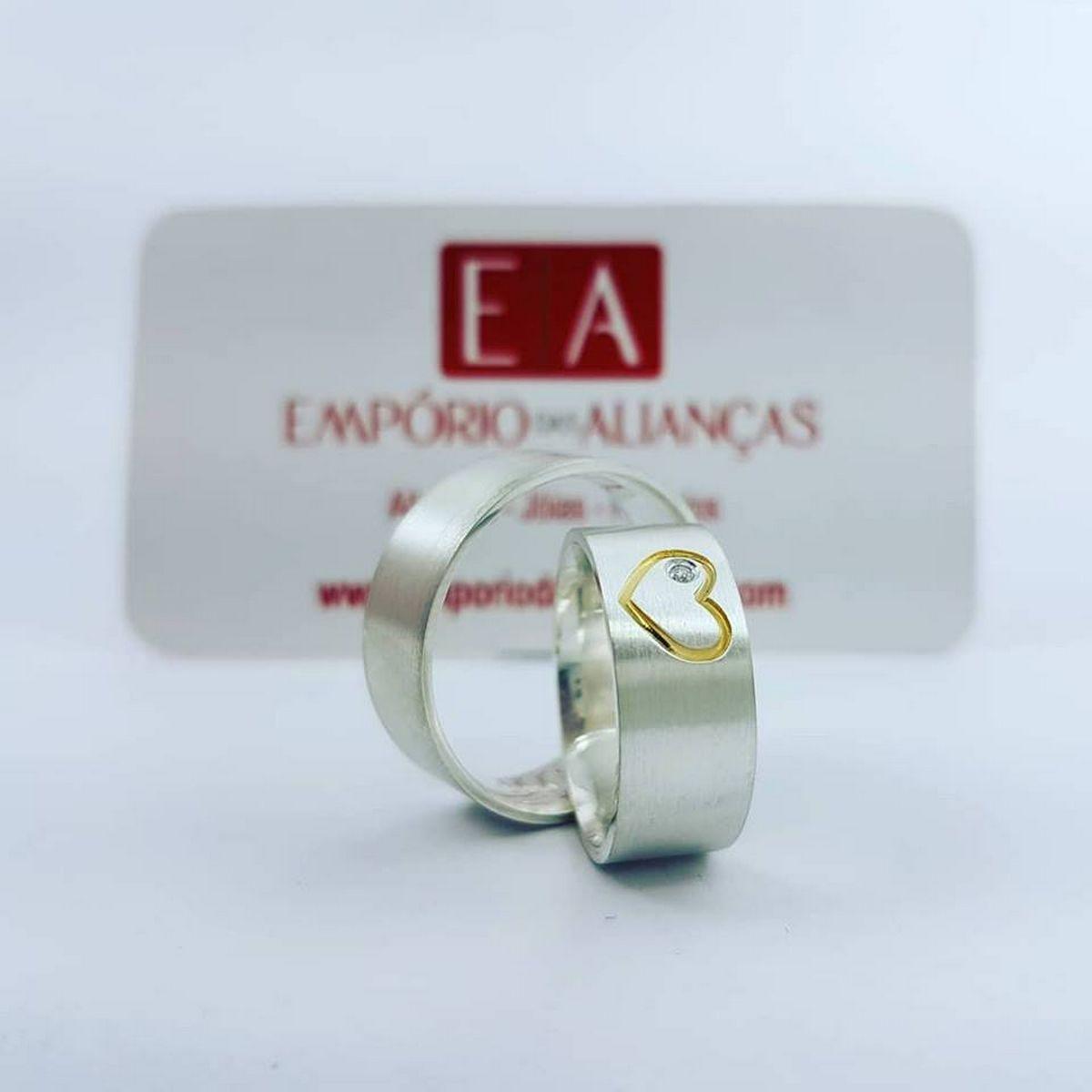 Alianças Prata Compromisso Namoro Quadrada Fosca Diamantada Coração mm 14 gramas Anatômica Trabalhada
