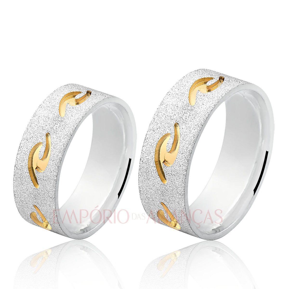 Alianças Prata Compromisso Namoro Quadrada Fosca Diamantada Rip Curl Mar Banho Ouro 8mm 12 gramas Anatômica