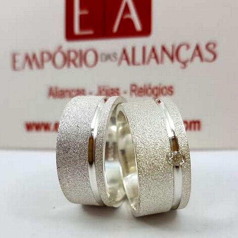 Alianças Prata Compromisso Namoro Quadrada Fosca Pedra Zircônia 12mm 22 Gramas
