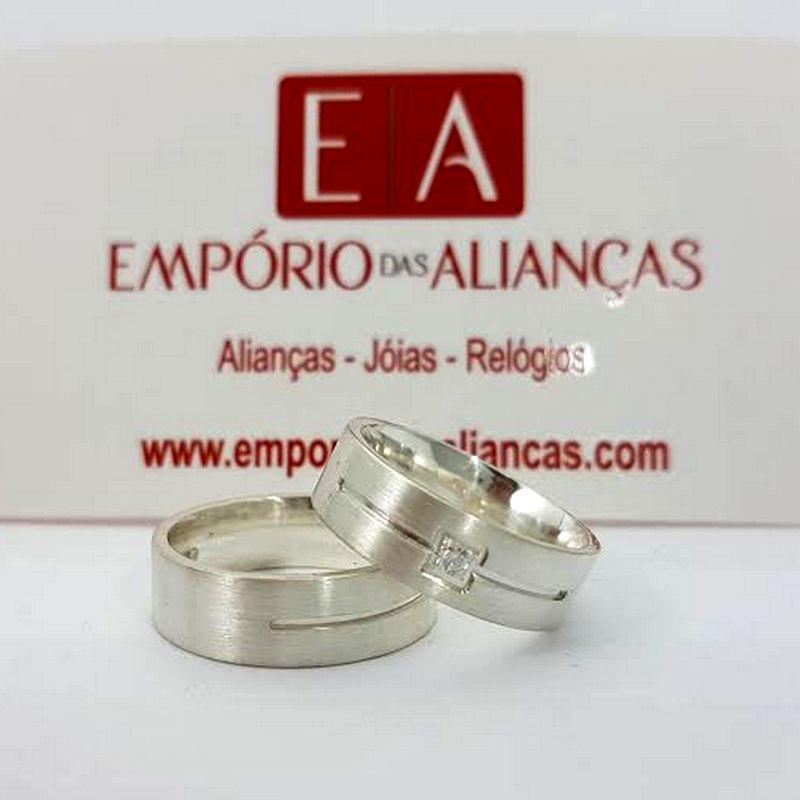 Alianças Prata Compromisso Namoro Quadrada Fosca Zircônia Anatômica 6mm 10 Gramas