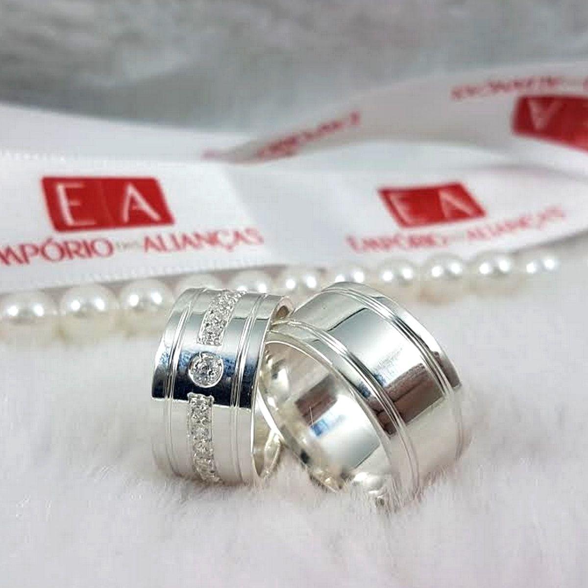 Alianças Prata Compromisso Namoro Quadrada Larga Anatômica Pedra Zircônia 10mm 18 Gramas