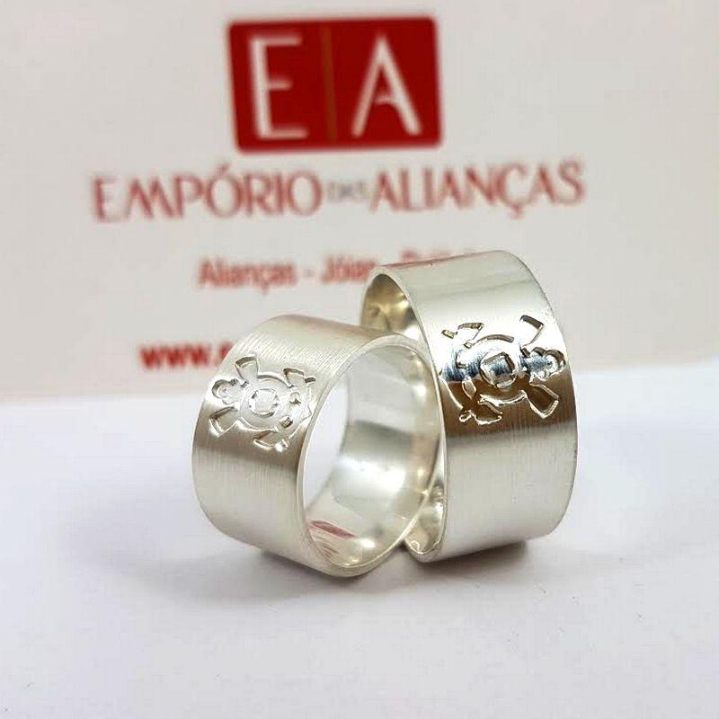 Alianças Prata Compromisso Namoro Quadrada Larga Corinthians SCCP Anatômica 10mm 20 Gramas