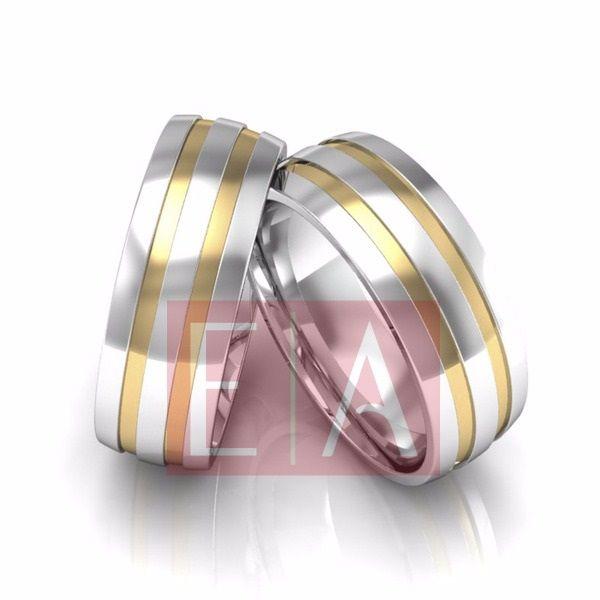 Alianças Prata Compromisso Namoro Quadrada Lisa Polida Banho em Ouro  7 mm 11 Gramas