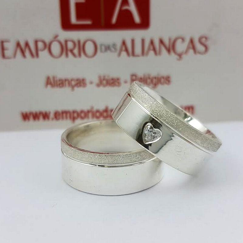Alianças Prata Compromisso Namoro Quadrada Pedra Coração Anatômica 8mm 18 Gramas