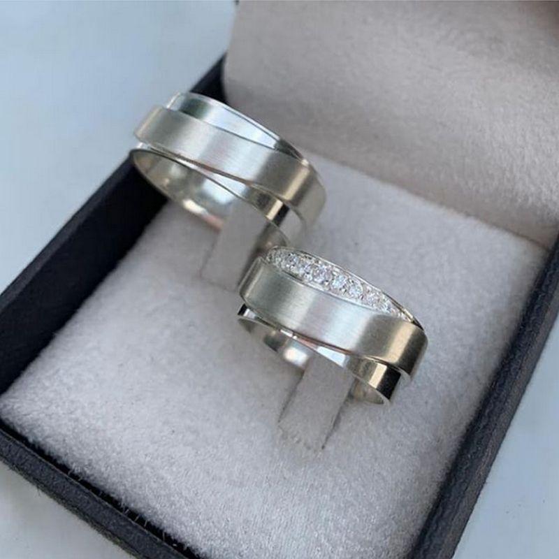 Alianças Prata Compromisso Namoro Quadrada Pedra Zircônia 10mm 18 Gramas o Par