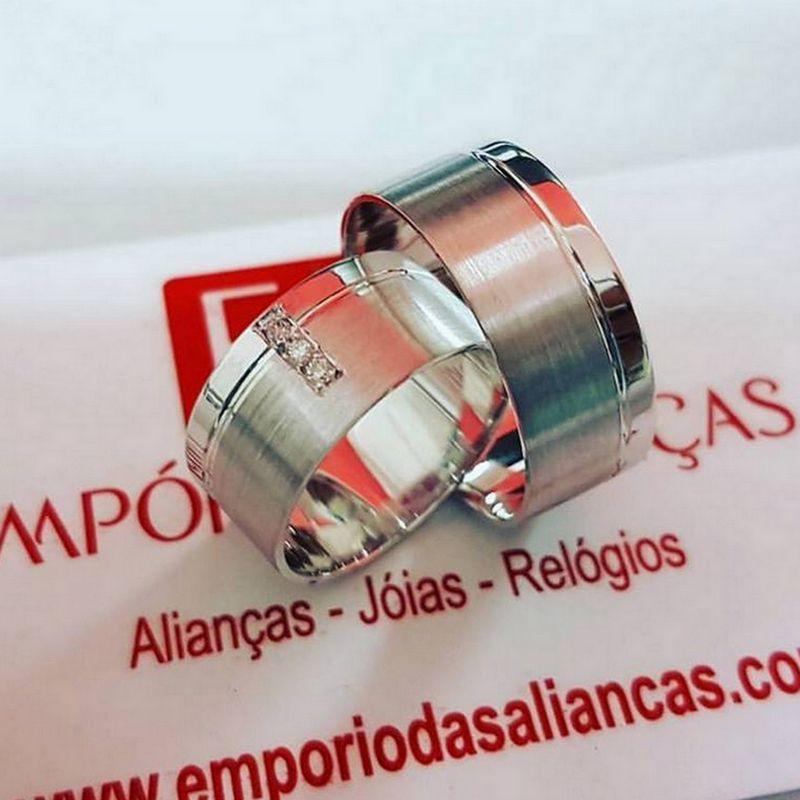 Alianças Prata Compromisso Namoro Quadrada Pedra Zircônia 8mm 12 Gramas
