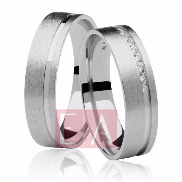 Alianças Prata Compromisso Namoro Quadrada Pedra Zircônia Fosca Diamantada Friso 6mm 12 gramas Anatômica