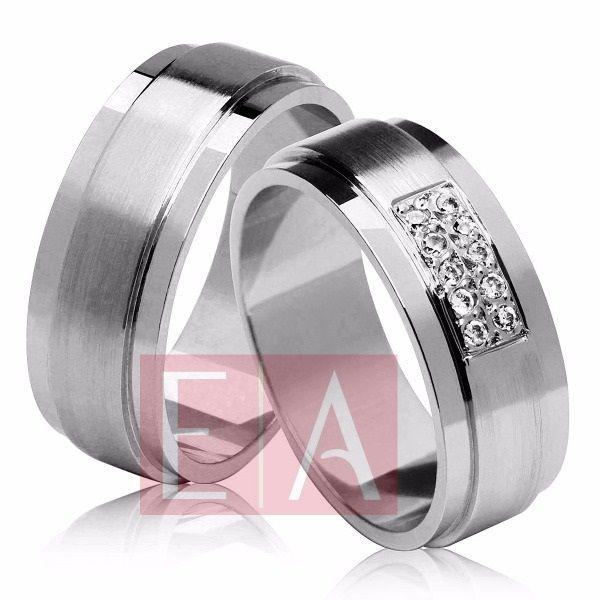 Alianças Prata Compromisso Namoro Quadrada Pedra Zirconia Lisa  Fosca 10mm 16 gramas Anatômica