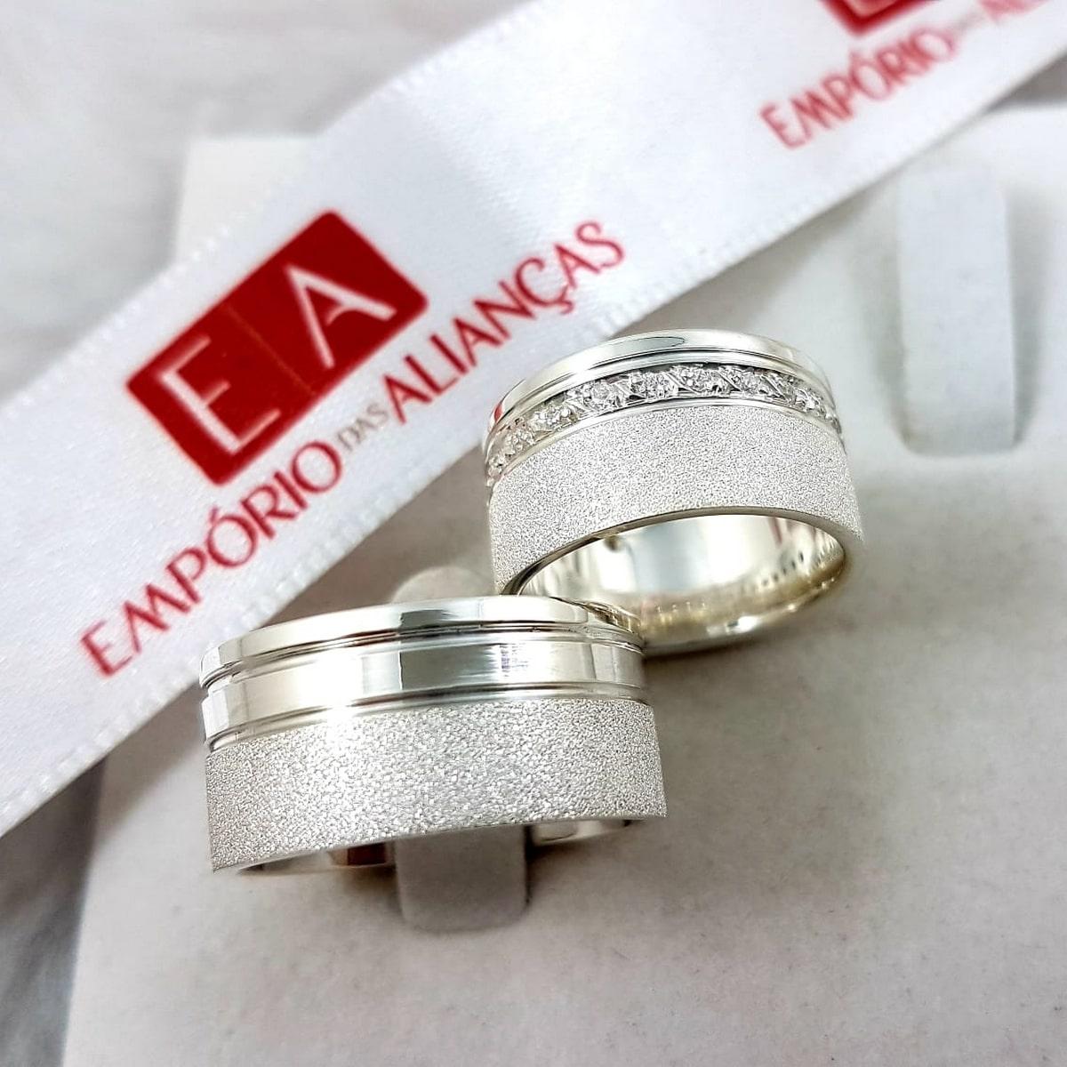 Alianças Prata Compromisso Namoro Quadrada Zircônia Fosco Diamantado 10mm 18 Gramas Anatômica
