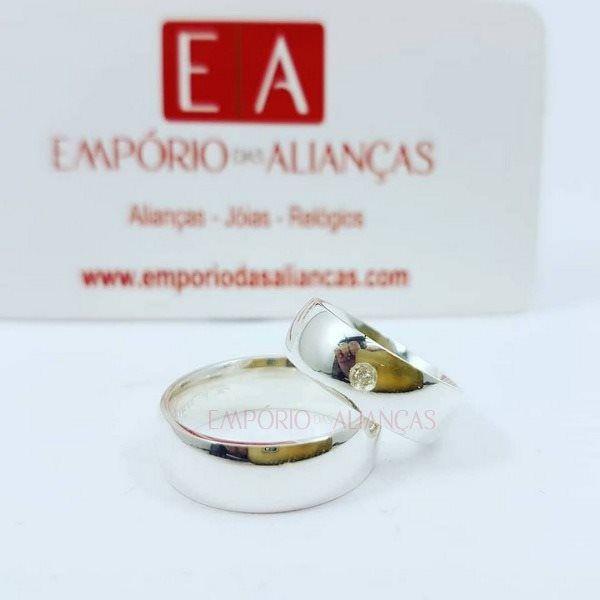Alianças Prata Compromisso Namoro Redonda Pedra Zirconia Lisa Polida 6mm 8 gramas Anatômica